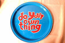 VINTAGE 1960'S-70'S ROUND METAL SERVING TRAYS PLATTER~RETRO~DO YOUR OWN THING