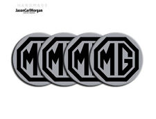 Mg TF Mgf lega ruota centro CAP badge Nero e Argento 55 mm hub cap badge Set