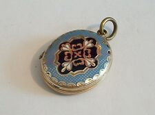 Fine 9ct / 9k 375 gold back and front enamel mourning Victorian locket