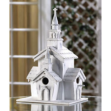 BIRDHOUSE: Whitewashed Distressed WHITE CHAPEL Bird House w/ Clean Out Hole NEW