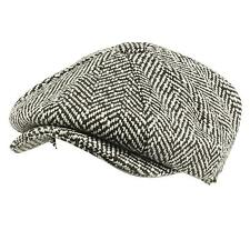 Men's 100% Wool Winter Herringbone Newsboy Cabbie Gatsby Cap Hat Black XL 60cm