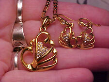 PEACOCK Necklace, Earring Set, 18K Yellow Gold Pltd with Crystals, Small, New