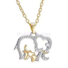 Elephant and Baby Crystal Necklace Pendant Charm Gold Silver Gift for Mom