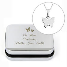Silver Plated Butterfly Chain Necklace - Free Engraved Box - Birthday Gift
