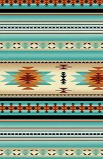 Tucson Light Turquoise Stripe By the yard cotton print fabric Elizabeth Studios