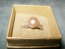 PRETTY PINK 12MM CULTURED FW GRANDE PEARL W/WHITE TOPAZ RING 7 IN SS925