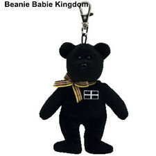 TY BEANIE * KERNOW * THE BLACK TEDDY BEAR METAL KEY CLIP - UK EXCLUSIVE