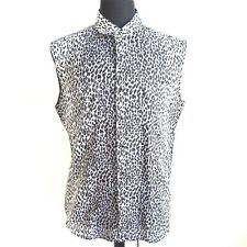 R-698204 New Saint Laurent Gray Animal Print Sleeveless Blouse Euro Size 41