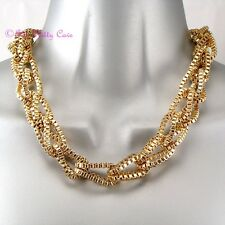 Gold Plated Retro Mesh Braided Plaited Box Chain Choker Catwalk Feature Necklace