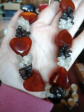 STATEMENT FACETED HEART AGATE, GARNET & ROCK CRYSTAL ROMANTIC NECKLACE (P2)