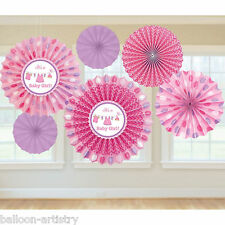6 Pink Girl's New Baby Shower With Love Party Hanging Paper Fan Decorations