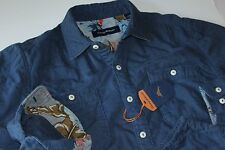 Tommy Bahama Shirt Quiltessential Chambray Bering Blue LS New Large L T315350