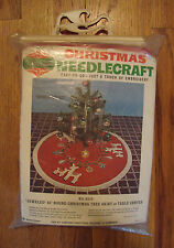 Bucilla Vintage REINDEER FANTASY Red Felt Fringe Christmas Tree Skirt Kit 8315