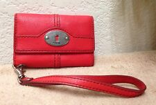 Fossil Maddox Red Leather Phone Tri-Fold Wallet Wristlet VGC