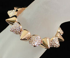SPIKE STUD CLEAR AUSTRIAN RHINESTONE CRYSTAL GOLD BRACELET BANGLE CUFF B1594G
