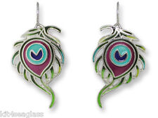 Zarah Zarlite Peacock Feather EARRINGS Sterling Silver Plated Dangle - Gift Box