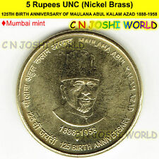 125th BIRTH ANNIVERSARY OF MAULANA ABUL KALAM AZAD 1888-1958 Rupees 5 UNC#1 Coin