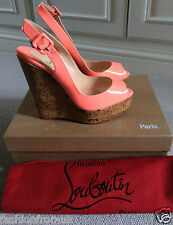 Christian Louboutin UNE PLUME Flamingo Wedge Sandal 37.5 36.5 runs small