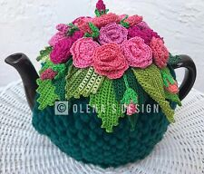 Handmade Crochet tea cozy Green tea cover  Bright Pink  Roses Tea cosy