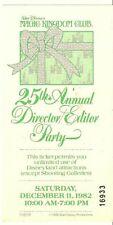 Walt Disney 25th Annual Director Party Ticket 1982 Magic Kingdom Club