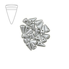 Cristal Checo 5x8mm Bebé Spike Grano De Aluminio Plata Paquete de 20 (M45/3)