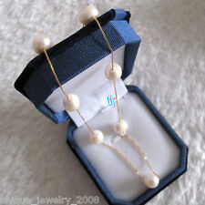 """16"""" 9.0-10.0mm White AA Freshwater Pearl Tin Cup Chain Necklace G"""