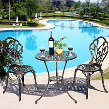 GOPLUS Cast Aluminum Patio Furniture Tulip Design Bistro Set Antique Copper