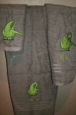 Dinosaur Long Neck or Spike Personalized 3 Piece Bath Towel Set  Any Color
