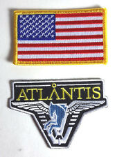 Stargate Atlantis Light Blue Logo & American Flag Uniform Patch Set 2(SGPA-Atlan