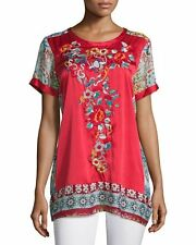 $245 NWT Johnny Was Yokito Embroidered Asian Combo Tunic Top Shirt M silk rayon