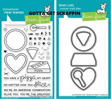 Lawn Fawn PIZZA MY HEART Stamps & Coordinating Lawn Cuts Dies LF1018 LF1019