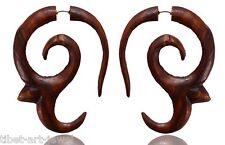Tibetan Tribal Wooden Handmade African Brown Wood Fake Gauge Earring WER050