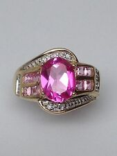 10K Yellow Gold Oval Shape Created Pink Topaz and Diamond Ring Size 6