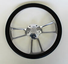 "1978-1991 Ford F-Series F150 Truck Steering Wheel Black and Billet 14"" Ford cap"