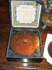 ANTIQUE 19th Century GERMAN SYMPHONIUM DISC MUSIC Box with 9 Discs Vintage