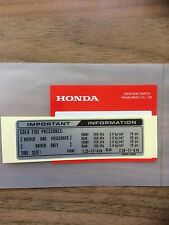 Genuine Honda Tyre Info Decal C50 C70 C90 Monkey Bike Dax C50 Cub 50 Chaly