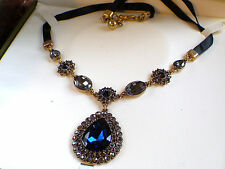 Choker Necklace,Faux Saphire crystal necklace,Vintage style choker necklace