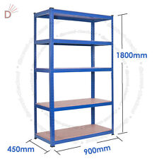 1800 x 900 x 450 mm Workshop Rack Boltless Storage Heavy Duty Shelve 5 Tier BLUE