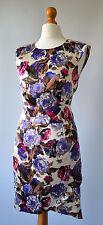 Señoras Karen Millen Crema, Púrpura & Rosa Floral Vestido De SEDA Talla 8 Nuevo Con Etiquetas £ 165 Reino Unido