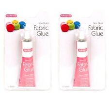 2 x Fabric Glue 50ml Tube Strong Adhesive Leather Textile Cotton Hemming Repairs