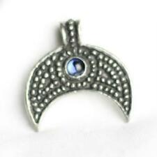 Lunular Viking Pewter Pendant, Little Moon Blue stone, Celtic, Norse, Thor