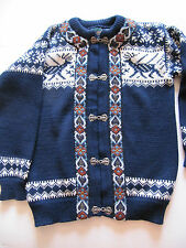 DALES OF NORWAY WOOL SWEATER SIZE 38 NAVY WHITE RUST OSLO SWEATER SHOP VERY NICE