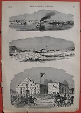 1862 Antique Engravings- Columbus, Kentucky - Fort Brown - Fort Lancaster -Alamo
