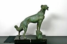 GROßE ART DECO BRONZE WINDHUND L. CARVIN PARIS