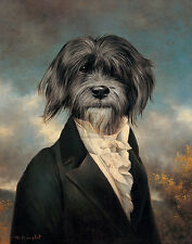 "THIERRY PONCELET ""Gavroche"" humour dog in suit PRINT SIZE:35cm x 28cm NEW print"