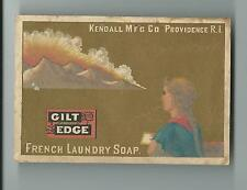 Old Trade Card Gilt Edge French Laundry Soap Kendall Mfg Providence RI Mountains