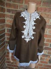 J.Crew 100% Linen Blouse Size M Embroidered Shirt Top Women Long Sleeve Brown