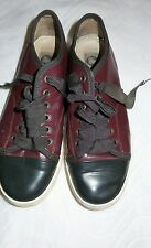 Lanvin Burgundy/black & Patent Leather Toe Ribbon Lace Up Low Sneaker Sz 37 $595