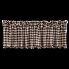 New Country Primitive NAVY BLUE & TAN CHECK VALANCE Window Curtains