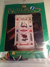 """""""Nature's Window"""" counted cross stitch kit camping Sampler Moose Eagle Fish Camp"""